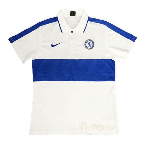 Maillot Foot Pas Cher Polo Chelsea 2020 2021 Bleu Blanc