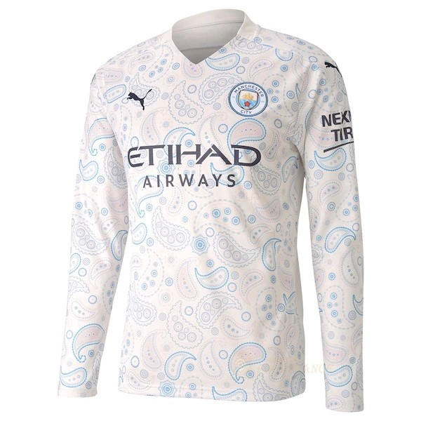 Maillot Foot Pas Cher Third Manches Longues Manchester City 2020 2021 Blanc